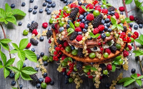 Wallpaper Cake, dessert, mint leaves, berries