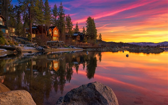 Wallpaper California, USA, Tahoe Lake, sunset, rocks, trees, houses