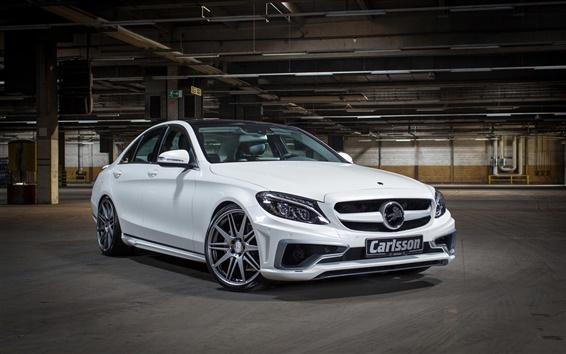 Fond d'écran Carlsson, Mercedes-Benz, Classe C, voiture blanche