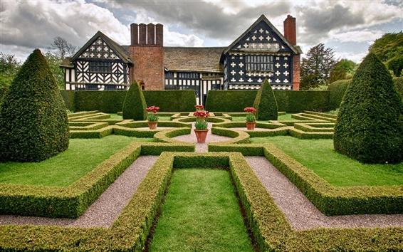 Wallpaper Cheshire, England, mansion, park, garden, trees, shrubs, flowers