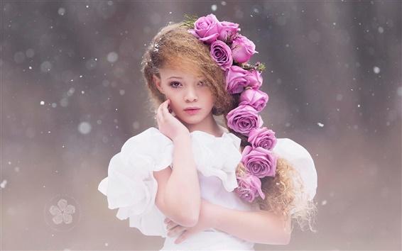Обои Симпатичные девушки, прическа, белое платье, розовые цветы