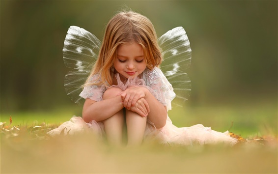 Wallpaper Cute girl, wings, fairy
