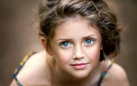 Wallpaper Cute little girl, portrait, face, eyes