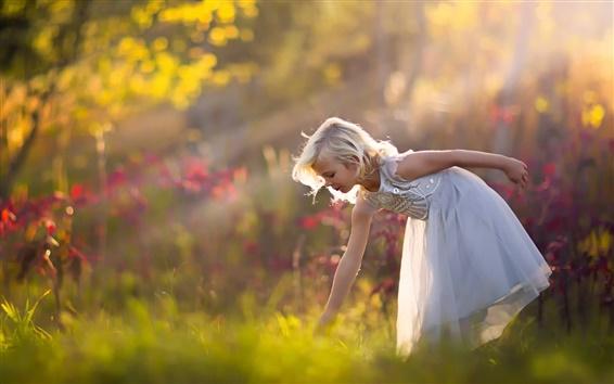 Wallpaper Cute little girl, white dress, forest, nature
