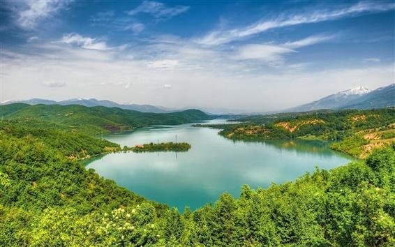 Fond d'écran Debarsko Lake, Macédoine, forêt, ciel