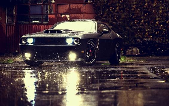Wallpaper Dodge Challenger SRT black muscle car, rain