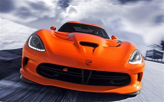 Wallpaper Dodge SRT Viper orange supercar front view