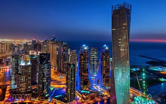 Fond d'écran Dubaï, ville, soir, lumières, bâtiments, gratte-ciel
