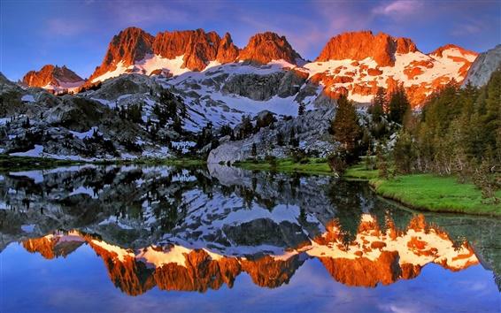 Обои Ediza озеро, Ансель Адамс Wilderness, Калифорния, США, горы, вода отражение
