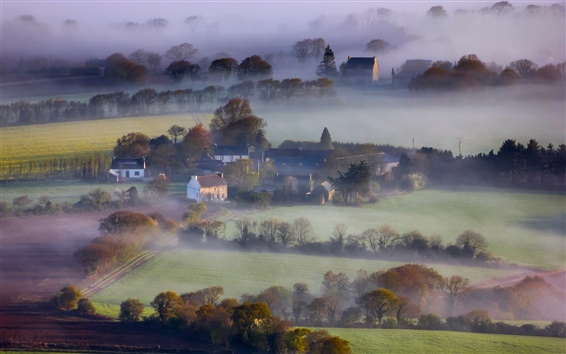 Wallpaper England, morning, houses, fields, trees, fog
