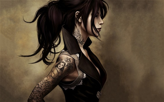 Papéis de Parede Menina da fantasia, tatuagem, roupas apertadas, penteado