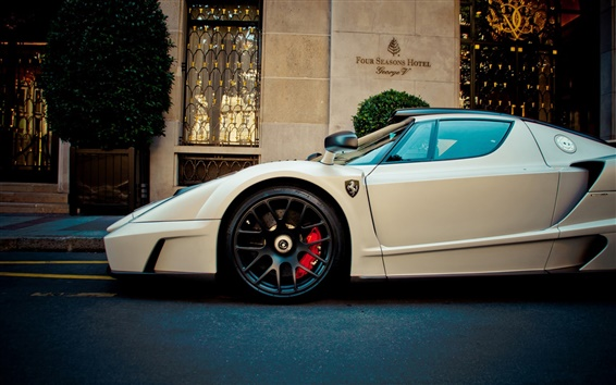 Wallpaper Ferrari Enzo white supercar front view