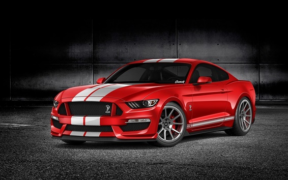 Wallpaper Ford Mustang GT350 red car front view