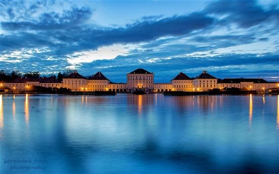 Wallpaper Germany, Bavaria, Munich, city, river, castle, blue, night