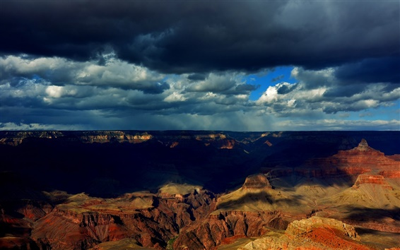 Wallpaper Grand Canyon, clouds, shadows, dusk