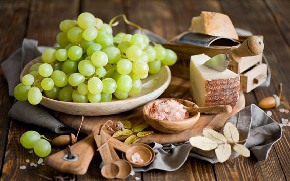 Wallpaper Green grapes, cheese, salt, spoons, leaves