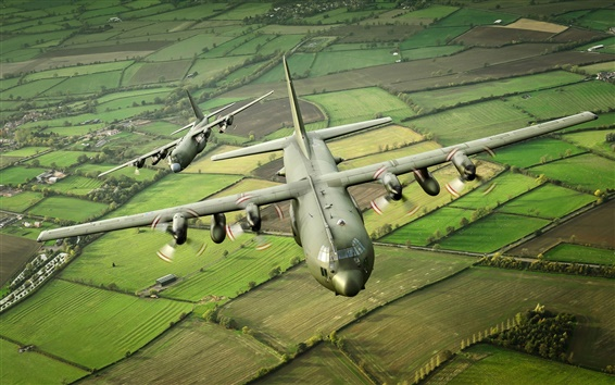 Wallpaper Hercules military transport aircraft C-130K