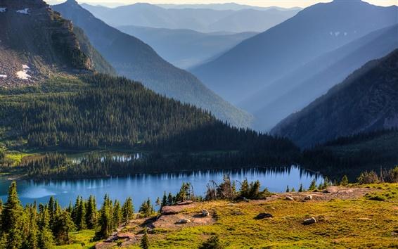 Fond d'écran Hidden Lake, Parc national Banff, Alberta, Canada, ciel, montagnes, arbres