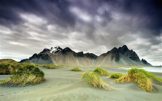 Wallpaper Iceland, nature scenery, mountains, clouds, spring