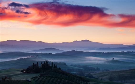 Wallpaper Italy, dawn, mist, fields, sky, clouds