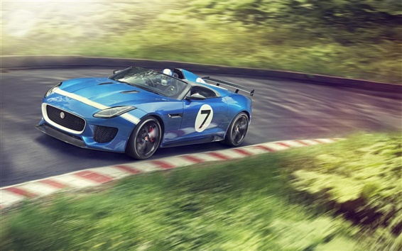 Wallpaper Jaguar Project 7 blue concept car in high speed