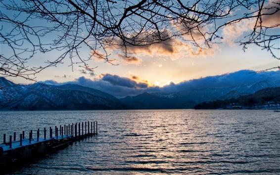 Wallpaper Lake, clouds, mountains, twigs, dawn