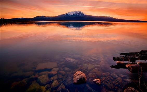 Wallpaper Lake, red sky, rocks, mountain, dusk
