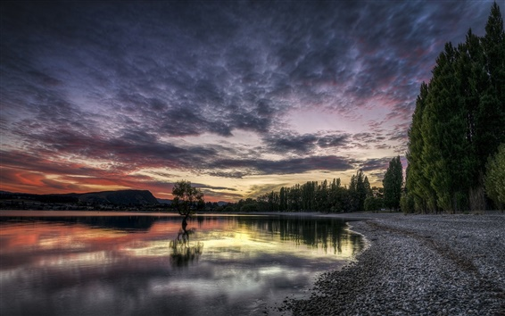 Wallpaper Lake, sunset, dusk, trees, sky, clouds