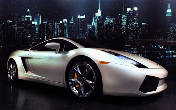 Wallpaper Lamborghini Gallardo white supercar side view, city, night