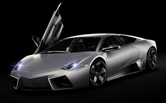 Обои Lamborghini Reventon суперкар спереди, черный фон