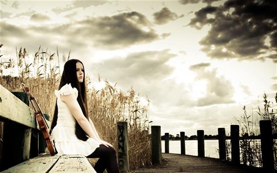 Wallpaper Long hair girl, violin, music, nature