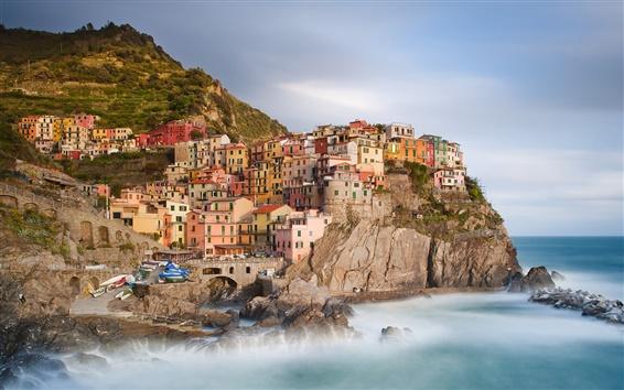 Wallpaper Manarola, Cinque Terre, Italy, houses, buildings, coast, boats, rocks, Ligurian Sea