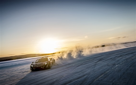 Wallpaper McLaren P1 supercar, speed, dust, sunset