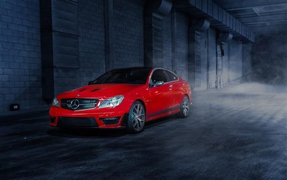 Обои Mercedes-Benz C63 507 Выпуск красный автомобиль