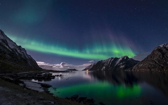 Papéis de Parede Noruega, Ilhas Lofoten, luzes do norte, noite, mar