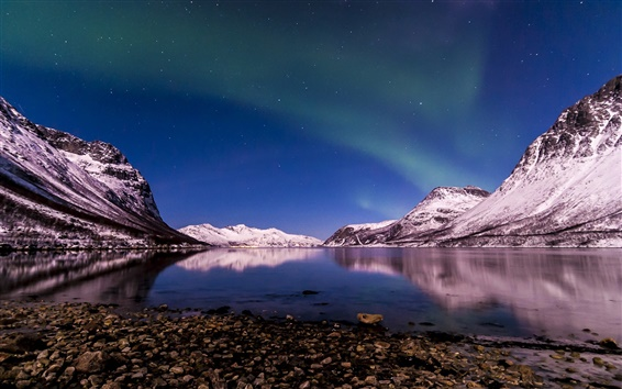 Wallpaper Norway, northern lights, winter, night, Tromso Fjord
