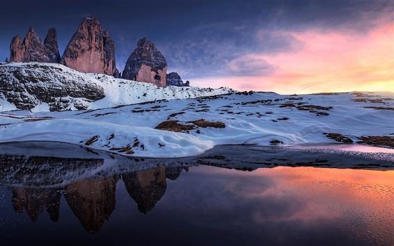 Papéis de Parede Noruega, rochas, neve, lago, inverno, céu vermelho