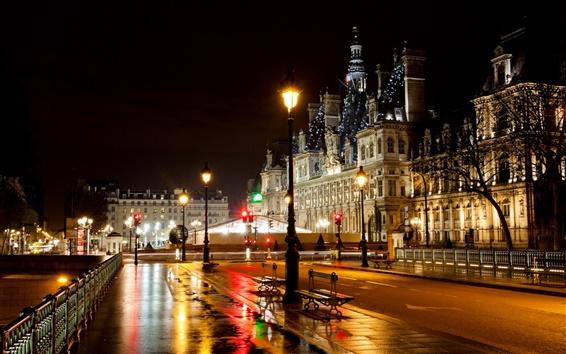Wallpaper Paris, France, hotel, city, street, night, road, lights