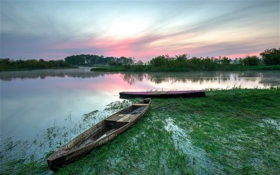 壁纸 波兰,别布扎国家公园,湖,船,黎明,夏天