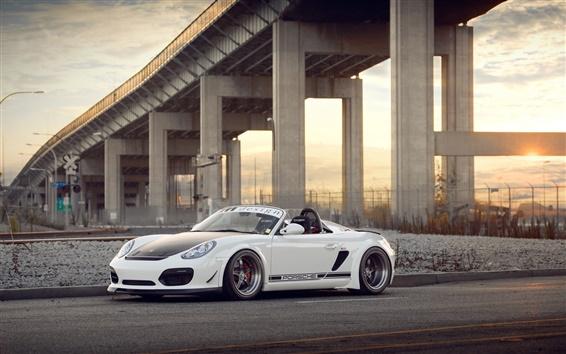 Fondos de pantalla Porsche Boxster Spyder superdeportivo blanco vista lateral