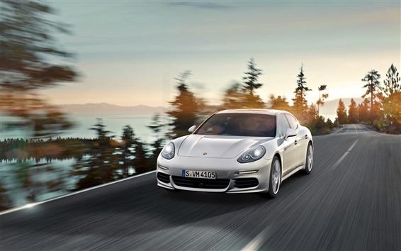 Wallpaper Porsche Panamera E-Hybrid car front view