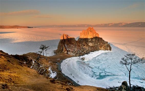 Fondos de pantalla Rusia, Baikal, mañana, amanecer, salida del sol, invierno