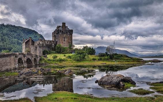 Wallpaper Scotland, river, bridge, castle, grass, rocks, clouds