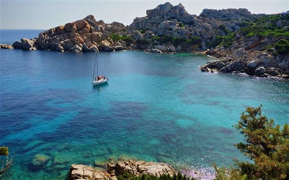 Papéis de Parede Mar, baía, barco, costa, pedras, Cala Spinosa, Itália