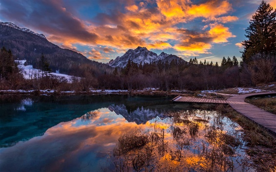 Wallpaper Slovenia, mountains, sky, clouds, lake, sunset, dusk