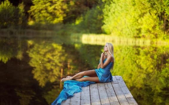 Wallpaper Summer, blue dress girl, legs, dreams, water, green bokeh