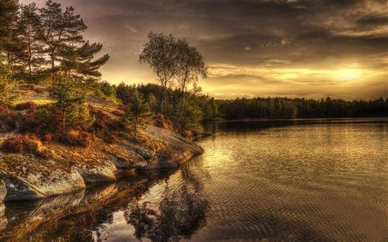 Fond d'écran Suède, Lac, soir, arbres