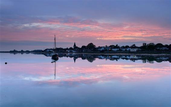 Wallpaper UK, England, town, evening, sunset, houses, lake, boat, water