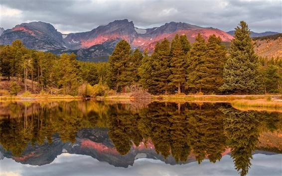 Fondos de pantalla EE.UU., Colorado, Parque Nacional, otoño, montañas, árboles, lago