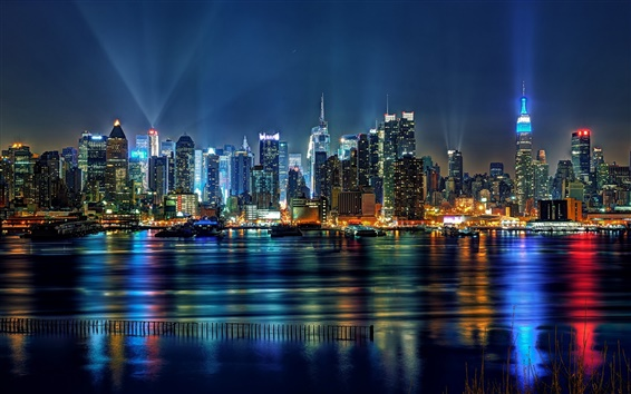 Wallpaper United States, New Jersey, Union Hill, New York City, buildings, lights